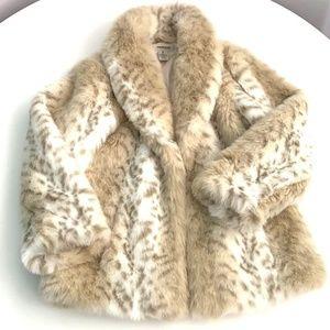 Snow Leopard Faux Fur Coat